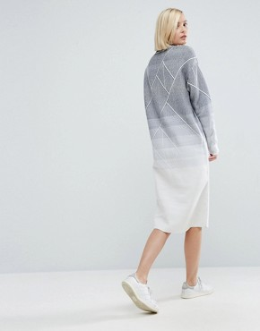 photo Knitted Geo Gradient Midi Dress by ASOS WHITE, color  - Image 2
