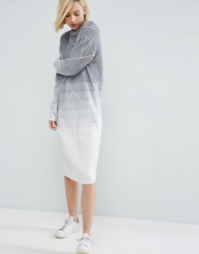 photo Knitted Geo Gradient Midi Dress by ASOS WHITE, color  - Image 1