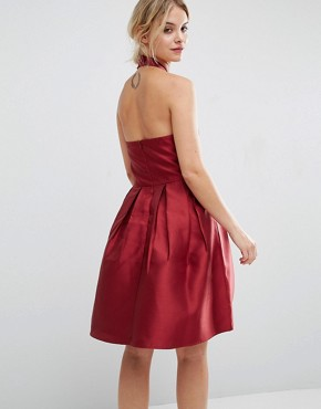 photo Satin Halterneck Dress by Vero Moda Petite, color Red - Image 2
