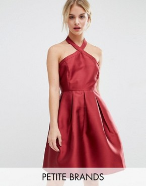 photo Satin Halterneck Dress by Vero Moda Petite, color Red - Image 1