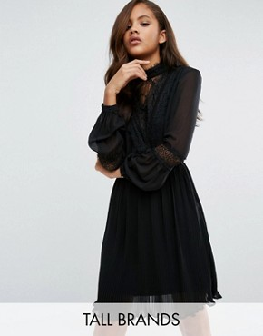 photo Lace Detail Skater Dress by Vero Moda Tall, color Black - Image 1
