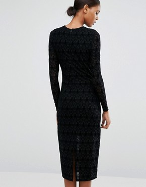 photo Lace Long Sleeve Dress by Vero Moda Tall, color Black - Image 2