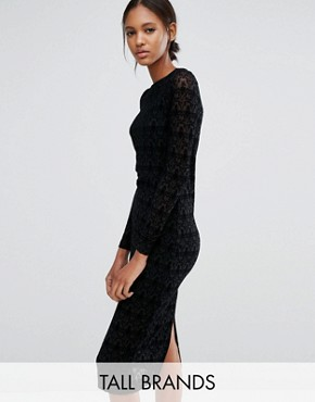 photo Lace Long Sleeve Dress by Vero Moda Tall, color Black - Image 1