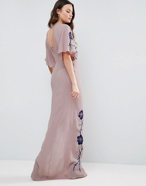 photo Premium Maxi Dress with Embroidery by ASOS TALL, color Lilac - Image 2