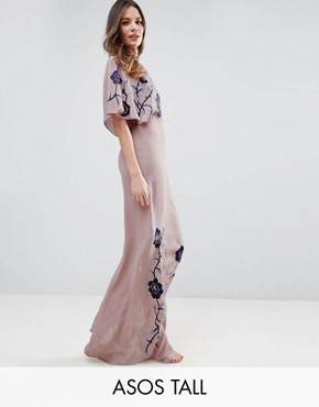 photo Premium Maxi Dress with Embroidery by ASOS TALL, color Lilac - Image 1