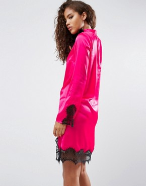 photo Satin High Neck Shift Dress with Lace Inserts by ASOS TALL, color Pink - Image 2
