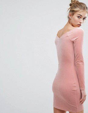 photo Velvet Sweetheart Dress by Miss Selfridge, color Pink - Image 2