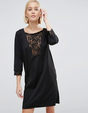 photo Shift Dress with Lace Panel by Minimum, color Black - Image 1