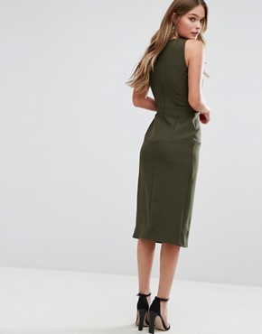photo Pinafore Midi Dress by Alter, color Khaki - Image 2