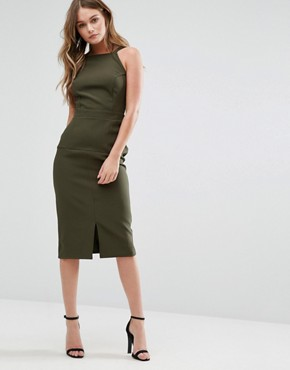 photo Pinafore Midi Dress by Alter, color Khaki - Image 1