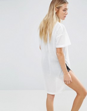 photo Mesh T-Shirt Dress by Nicce London, color White/Black - Image 2