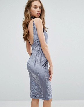 photo Crushed Velvet Midi Dress With Choker by Missguided, color Grey - Image 2
