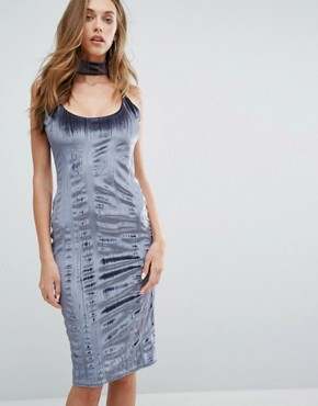 photo Crushed Velvet Midi Dress With Choker by Missguided, color Grey - Image 1