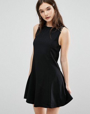 photo Lace Trim Skater Dress by QED London, color Black - Image 1