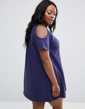 photo Swing Dress with Cold Shoulder by NVME Plus, color Navy - Image 2