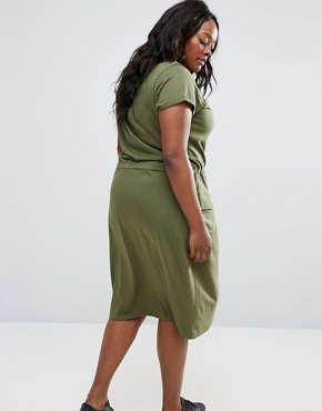 photo Midi Dress with Pockets by NVME Plus, color Khaki - Image 2