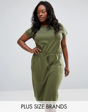 photo Midi Dress with Pockets by NVME Plus, color Khaki - Image 1