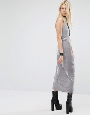 photo Bodycon Maxi Dress with Cut Outs and Lace Detail In Velour by Story Of Lola, color Silver - Image 2