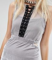 photo Bodycon Maxi Dress with Cut Outs and Lace Detail In Velour by Story Of Lola, color Silver - Image 3