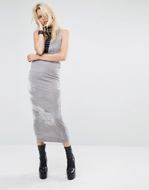 photo Bodycon Maxi Dress with Cut Outs and Lace Detail In Velour by Story Of Lola, color Silver - Image 4