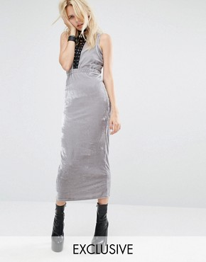 photo Bodycon Maxi Dress with Cut Outs and Lace Detail In Velour by Story Of Lola, color Silver - Image 1