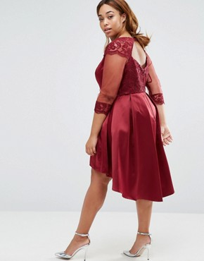 photo Dip Hem Prom Dress with Long Sleeves by Chi Chi London Plus, color Burgundy - Image 2