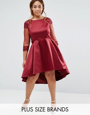 photo Dip Hem Prom Dress with Long Sleeves by Chi Chi London Plus, color Burgundy - Image 1
