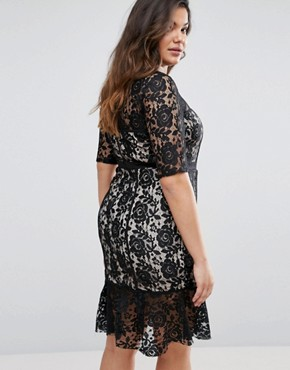 photo All Over Contrast Lace Dress with Peplum Hem by Paper Dolls Plus, color Black - Image 2
