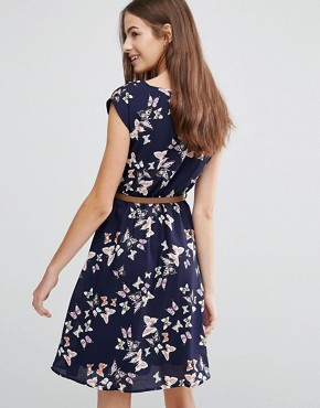 photo Butterfly Skater Dress by Yumi, color Navy - Image 2