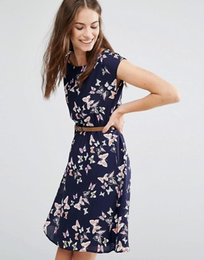 photo Butterfly Skater Dress by Yumi, color Navy - Image 1