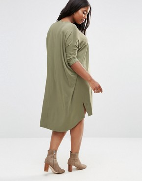 photo Oversize T-Shirt Dress with Curved Hem by ASOS CURVE, color Khaki - Image 2