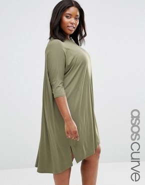photo Oversize T-Shirt Dress with Curved Hem by ASOS CURVE, color Khaki - Image 1