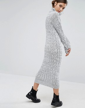 photo Knitted Maxi Dress With Roll Neck by Daisy Street, color Grey - Image 2
