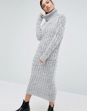 photo Knitted Maxi Dress With Roll Neck by Daisy Street, color Grey - Image 1