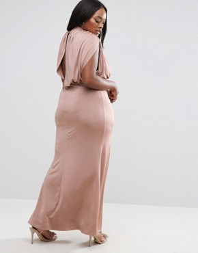 photo Slinky High Neck Metallic Belt Maxi Dress by ASOS CURVE, color Nude - Image 2