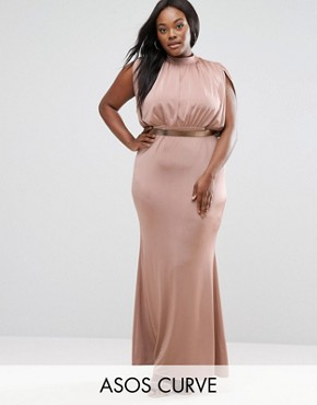 photo Slinky High Neck Metallic Belt Maxi Dress by ASOS CURVE, color Nude - Image 1