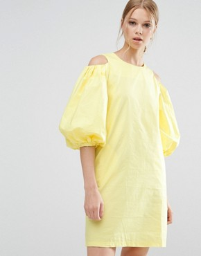 photo Cold Shoulder Yellow Dress by Style Mafia, color Yellow - Image 1
