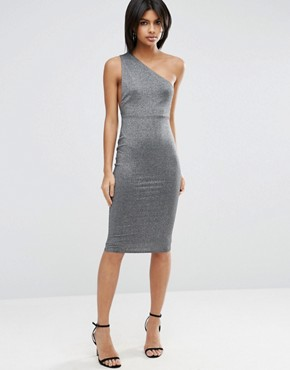 photo Glitter One Shoulder Twist Back Midi Dress by ASOS, color Silver - Image 2