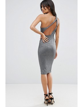 photo Glitter One Shoulder Twist Back Midi Dress by ASOS, color Silver - Image 1
