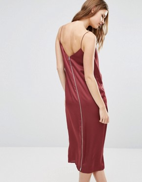 photo Drape Front Cami Midi with Zip Back Dress by ASOS TALL, color Red - Image 2