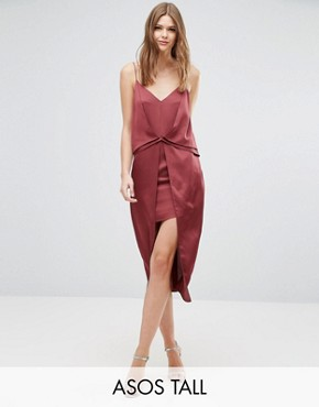 photo Drape Front Cami Midi with Zip Back Dress by ASOS TALL, color Red - Image 1