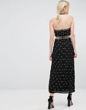 photo Embellished Maxi Dress with Cut Out Detail by Maya Petite, color Black/Pewter - Image 2