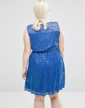 photo Lace Skater Dress by Lovedrobe Plus, color Blue - Image 2