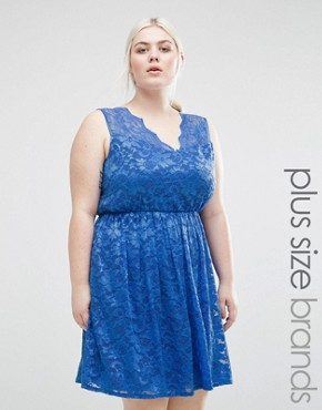 photo Lace Skater Dress by Lovedrobe Plus, color Blue - Image 1