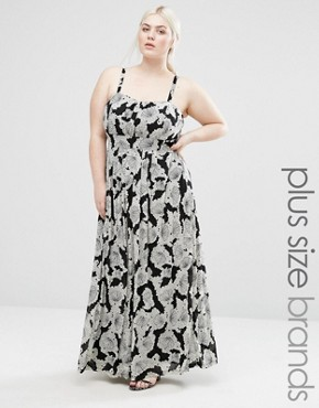 photo Maxi Dress In Abstract Print by Lovedrobe Plus, color Cream/Black - Image 1