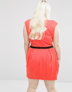 photo Dress with Contrast Panel by Koko Plus, color Coral/Black - Image 2