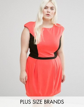 photo Dress with Contrast Panel by Koko Plus, color Coral/Black - Image 1