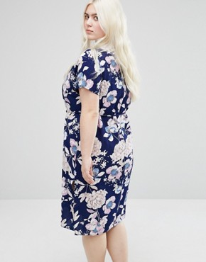 photo Tie Waist Dress In Floral Print by Koko Plus, color Navy - Image 2