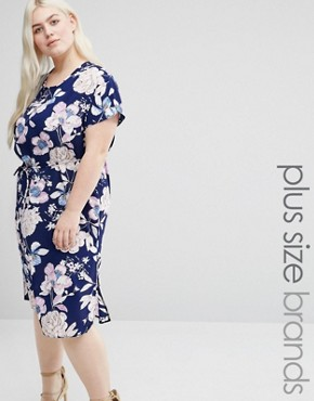 photo Tie Waist Dress In Floral Print by Koko Plus, color Navy - Image 1