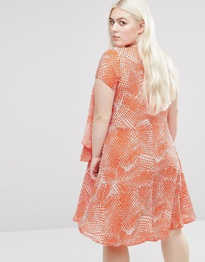 photo Frill Dress In Abstract Print by Koko Plus, color Coral/White - Image 2
